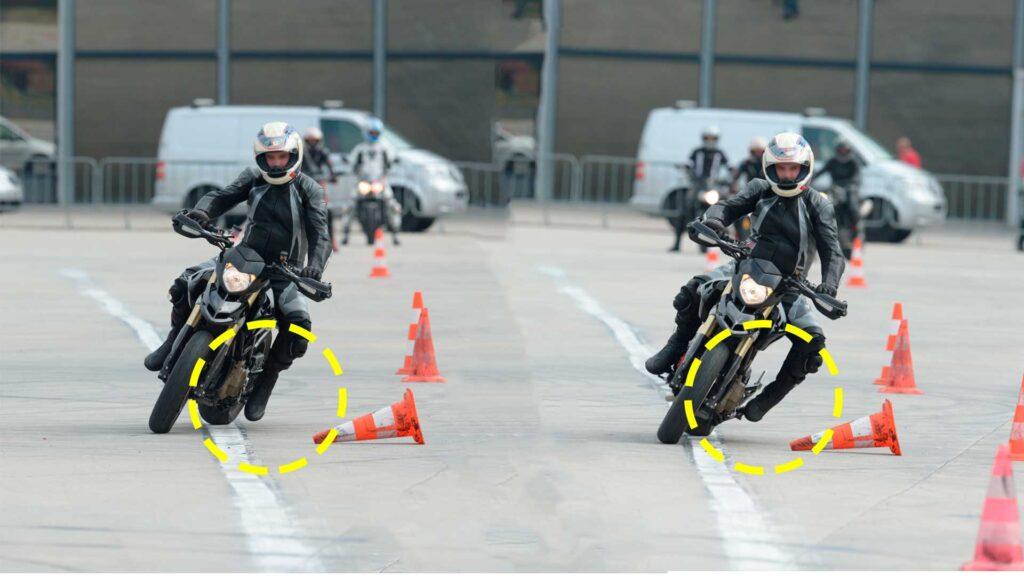 Ducati Hypermotard esercizio slalom