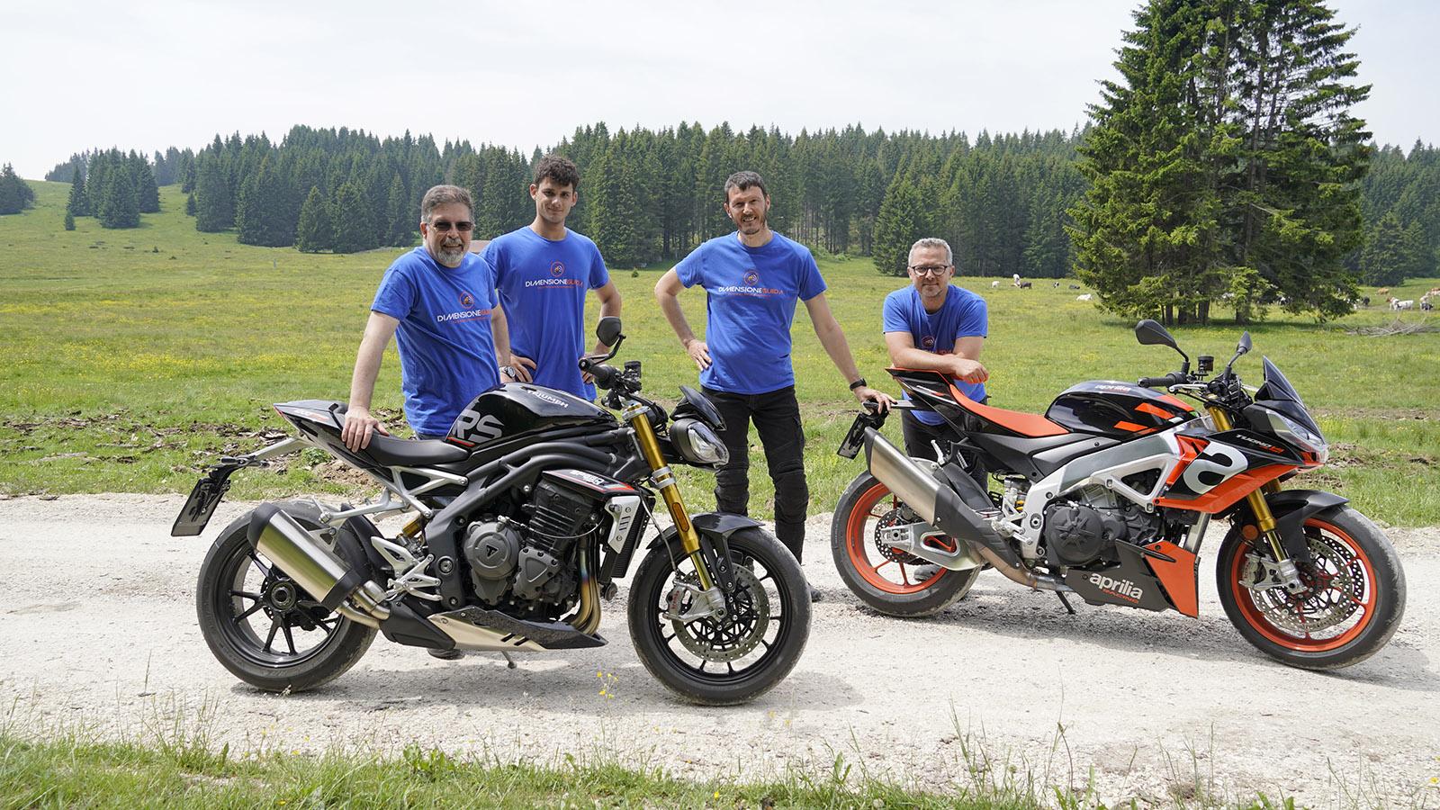 Aprilia Tuono V4 Factory - Triumph Speed Triple 1200 RS e lo staff DimensioneGuida